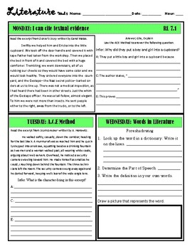 Free Bell Ringers: Literature & Reading CCSS 7.2 Central Ideas & Summaries