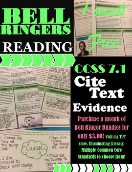 Free Bell Ringers: Literature & Reading CCSS 7.1 Cite Text Evidence