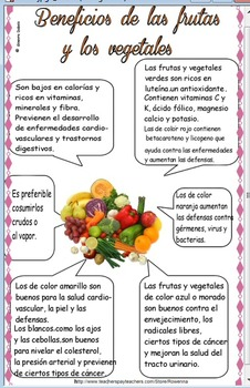 Free Benefits of Fruits / Vegetables in Spanish -Beneficios de frutas y veg