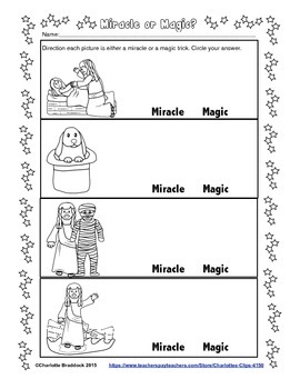 Free Bible Printable: Miracle or Magic from Charlotte's Clips
