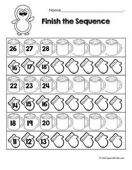 Free Bilingual January Math Worksheets- Kindergarten (Gratis Matematicas)