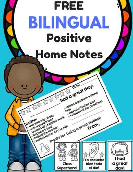 Free Bilingual Positive Notes (Notas positivas para comunicar con la casa)