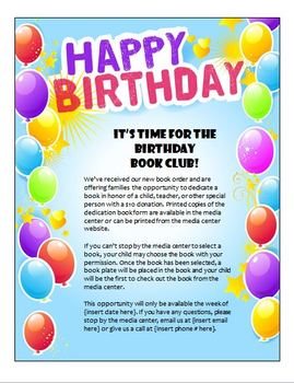 Free Birthday Book Club flyer and form