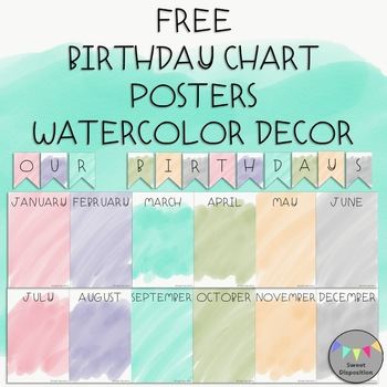 Free Birthday Chart Posters-Watercolor Decor
