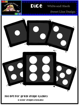 Clipart : Free Black Dice {Sweet Line Design Clipart}