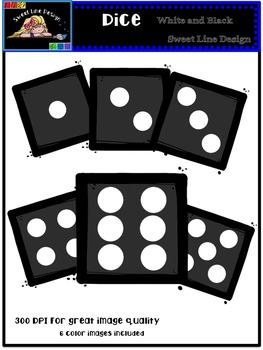Clipart : Free Black Dice {Sweet Line Design Clipart}