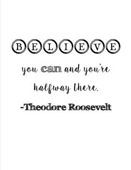 Free Black & White Motivational Classroom Poster