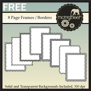 Free Frames: Black and White Clip Art Page Borders {Commer