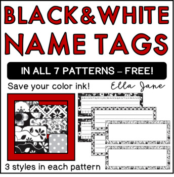 Free Black and White Name Tags