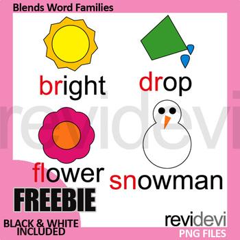 Free Blends Clip Art (word families clipart) beginning blends br, dr, fl, sn