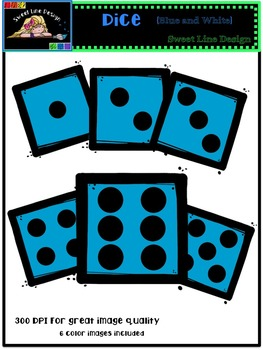 Clipart : Free Blue Dice {Sweet Line Design Clipart}
