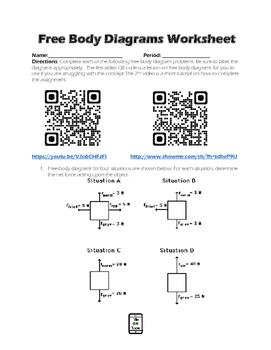 Free Body Diagram QR Code Video Worksheet