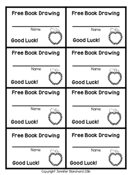 Free Book Drawing Tickets - Apple Theme