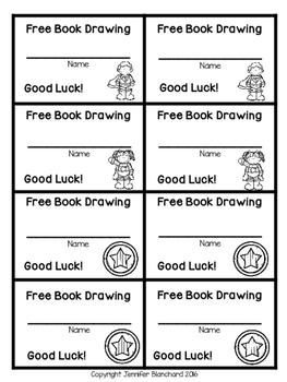 Free Book Drawing Tickets - Superhero Theme