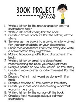 Free Book Project Enrichment Ideas - Early Finisher Ideas