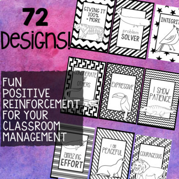 Free Brag Tags: Colorable Positive Affirmation & Character Traits Cards
