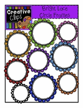 {Free} Bright Lace Circle Frames {Creative Clips Digital Clipart}