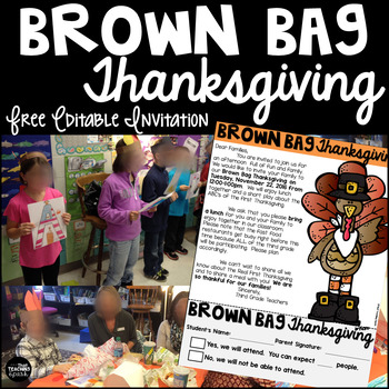 Free Brown Bag Thanksgiving Parent Invitation