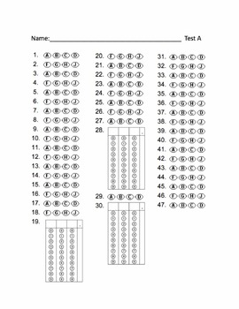 Free Bubble Answer Sheets for STAAR Practice Test A and B