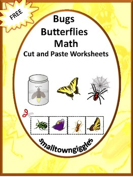 Free Bugs Butterflies Math Cut and Paste Worksheets