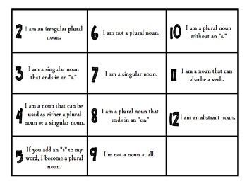 Free Bump It Game ~ Nouns and Plural Nouns Version ~ Print & Play