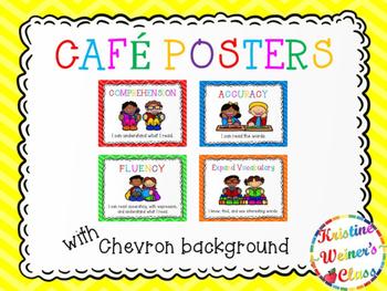 Free CAFE Reading Strategies Headers - Chevron Version