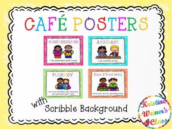 Free CAFE Reading Strategies Headers - Crayon Scribble Version