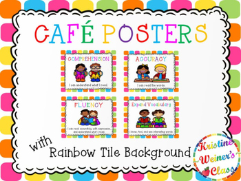 Free CAFE Reading Strategies Headers - Rainbow Tiles Version