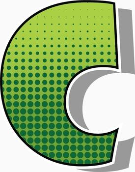"Free COMI-CAN! Green Comic Book  Alphabet -  300 DPI - PDF & PNGs - 3"" High"