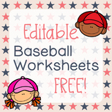 Free CUSTOM Baseball Worksheets for Speech Therapy