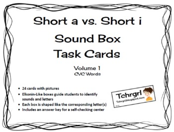Free CVC Elkonin Sound Boxes Task Cards--Short A vs. Short I