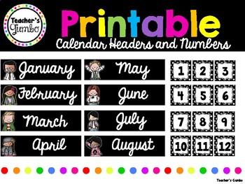 Free Calendar Printables - Black and White Themed