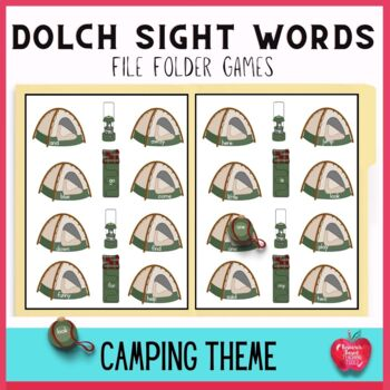 Free Camping Adventures Pre-Primer Dolch File Folder Game
