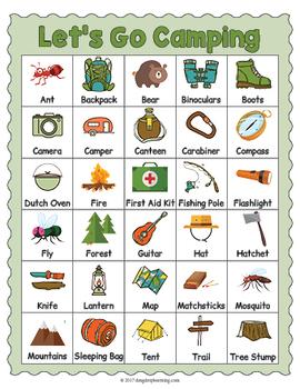 Free Camping Vocabulary Printable