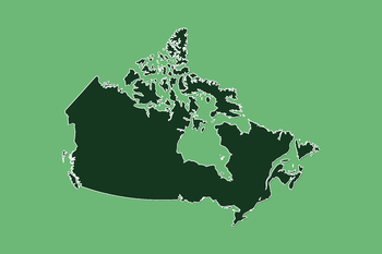 Free Canada Map Clip Art : Map with border line and land area