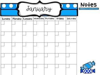 Free Candy Themed Calendar