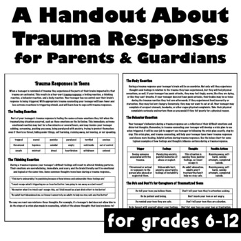 Free Parent and Caregiver Handout About Trauma Responses