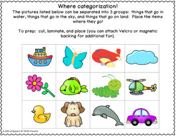 Free Categories Prepositions Speech Therapy Activity Minimal and NO PREP