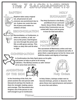 Seven Sacraments Coloring Teaching Resources | Teachers Pay Teachers