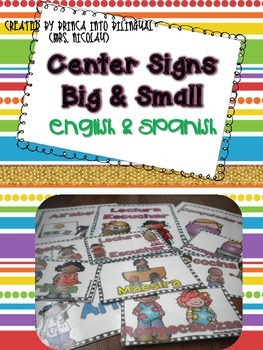 Free Center Signs:  Big & Small - Centros in Engl and Span