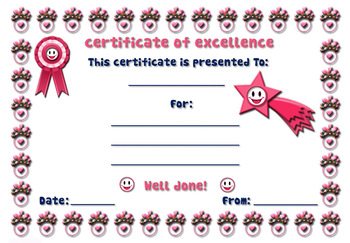 Free Certificates of excellence - pink flowers -  English