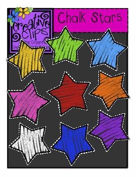 {Free} Chalk Rainbow Stars {Creative Clips Digital Clipart}