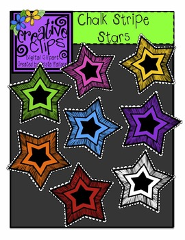 {Free} Chalk Stripe Stars {Creative Clips Digital Clipart}