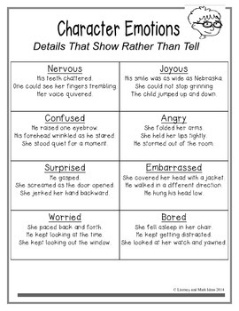 **Free** Character Traits Chart:  Details That Show Instead of Tell