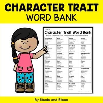 Writing Anchor Chart - Character Traits Word Bank