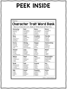 Character traits words writing anchor chart by nicole and eliceo