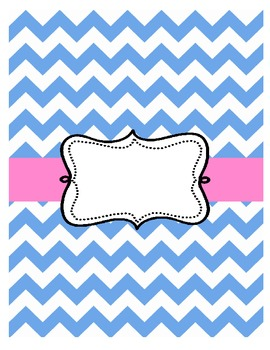 Free Chevron Binder Cover Pink and Blue