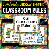 Classroom Rules Posters - Jigsaw Puzzle Theme for Back to School - Editable