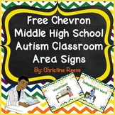 Free Chevron Middle-High School Autism Classroom Area Signs (Special Ed)