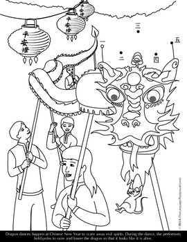 Free Chinese New Year Coloring Page And Dot To Dot By Michelle Gannon